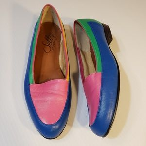 Vintage Selby Color Block Leather Flats sz 8.5N